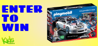 Enter for your chance to win a PLAYMOBIL Porsche 911 GT3 Cup. Set includes two figures, Porsche car with sponsor decals, mechanic tools, spare tire, racing flag, helmet, and tons of other accessories. Value $70